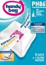 4 sacs microfibres HANDY BAG PH86 - Anti-allergène + Filtre Moteur