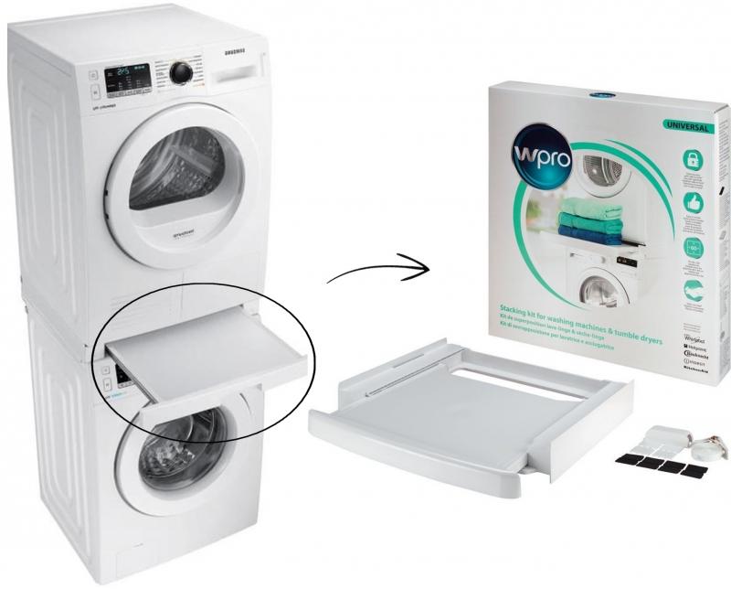 kit superposition universel avec tablette lave linge et. Black Bedroom Furniture Sets. Home Design Ideas